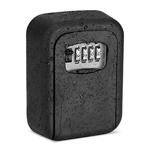 Schlüsseltresor Aussen mit Zahlencode - Schlüsselversteck für Draußen Wasserdichter Kombinationsschlüssel, Zinklegierung Schlüsselbox mit rücksetzbarem Code für Hausersatzschlüssel(schwarz)
