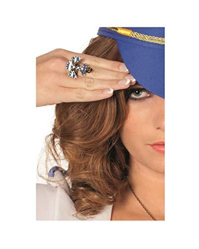 narrenkiste W30226 alt-goldfarbend Damen Anker Matrosen Ring