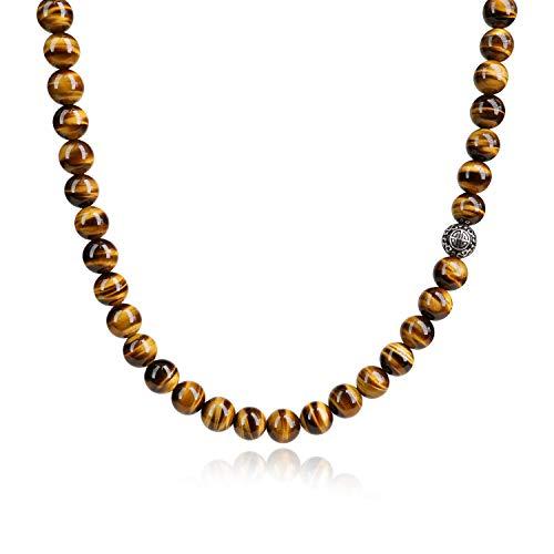 COAI Collar con Cuentas de Ojo de Tigre y Cuenta Amuleto Shou de Plata, 65cm