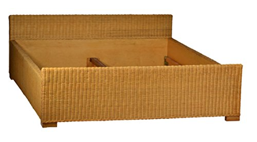 MiaMöbel Bett 160x66x220 cm Landhausstil Massivholz Rattan Mahagoni Honig