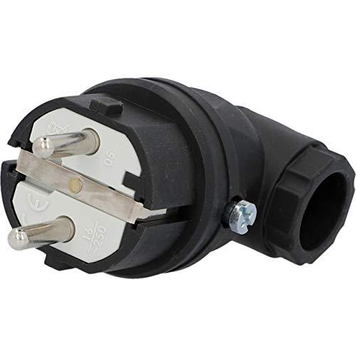 UNITEC 40502L Schuko-Stecker, Vollgummi, gewinkelt, schwarz