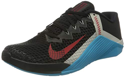Nike Unisex Metcon 6 buty gimnastyczne, Black University Red Light Blue Fury Light Bone Light Smoke Grey - 44 EU