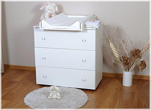 Paula Fasciatoio completo di vassoio materassino e cassettiera con 3 capientissimi cassetti Modello unisex bianco senza decori