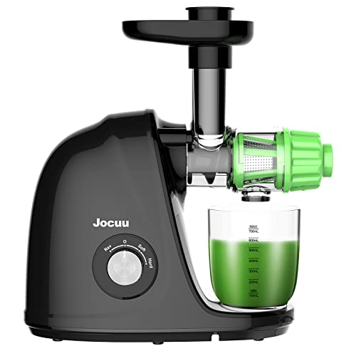 Juicer Machines, Jocuu Cold Press Juicer Easy to Clean, Slow Masticating Juicer with 2-Speed Modes, Juicer with Quiet Motor & Reverse Function, with Brush & Recipes, for Vegetables & Fruits, Black
