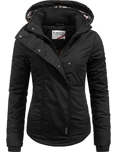 Sublevel Damen Übergangsjacke Outdoorjacke 46550D All Black Gr. XL
