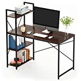 Bestier Computer Desk with Shelves 47 Inch, Reversible Writing Desk with Adjustable Storage Bookshelf Home Office Desk Study Table Work Desk with Shelves Office Bookshelf Corner Desk Easy Assemble