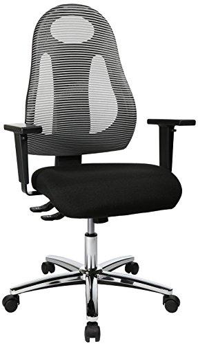 Topstar Free Art Chrom, ergonomischer Bürostuhl, Schreibtischstuhl mit Design-Rückenlehne, inkl. höhenverstellbarer Armlehnen, Stoff, Hellgrau/Schwarz