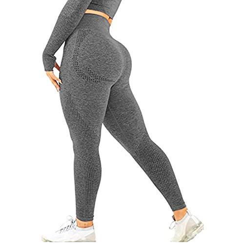 Frauen Jogginghose Sport Leggings Damen Honeycomb Gym Sporthose Yogahose Anti Cellulite Hohe Taille Sportleggins Sexy Booty Push Up Trainingshose Hotpants Kompression Sport Fitness mit Bauchkontrolle