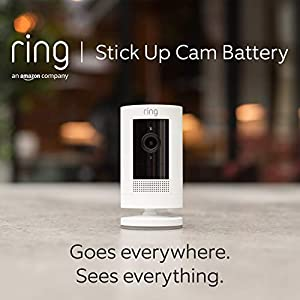 Ring Stick Up Cam Battery by Amazon   HD security camera with Two-Way Talk, Works with Alexa   With 30-day free trial of Ring Protect Plan   White