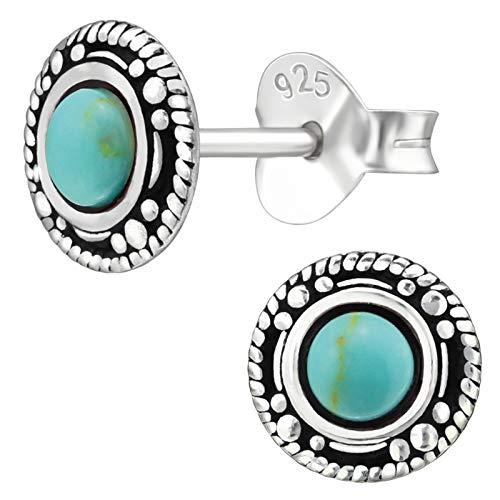 EYS JEWELRY Damen Ohrringe rund 925 Sterling Silber oxidiert 7 mm Schmuck Vintage Ohrstecker Damenohrringe Damenohrstecker