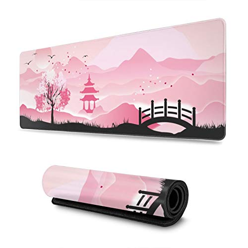 Japanese Landscape Pink Sakura Cherry Blossom Gaming Mouse Pad, Long Extended XL Mousepad Desk Pad, Large Non-Slip Rubber Mice Pads Stitched Edges, 31.5'' X 11.8''