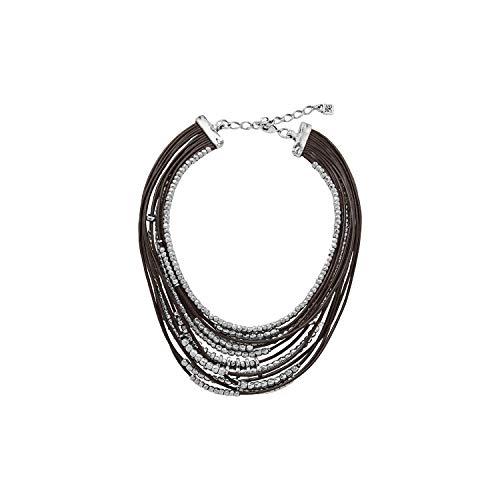 Gargantilla Uno de 50 OMARIBA cuero marrón y cuentas bañadas en plata. Nueva Colección MASSAI.