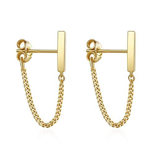 S.Leaf Sterling Silver Stud Earrings Bar with Chain Dangle Earrings Gold Earrings for Women (gold)