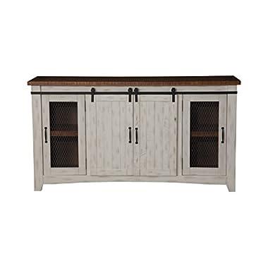 Martin Svensson Home 90906 Taos 65  TV Stand, Antique White & Aged Distressed Pine, Antique White and Aged Distressed Pine