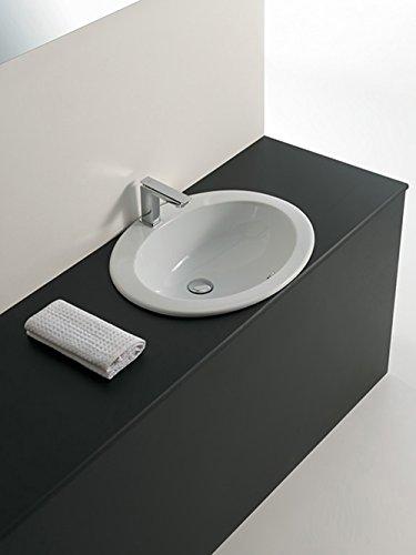 EOLO lavabo lavabo encastrable design en céramique Blanc 57 x 48 x H19 cm