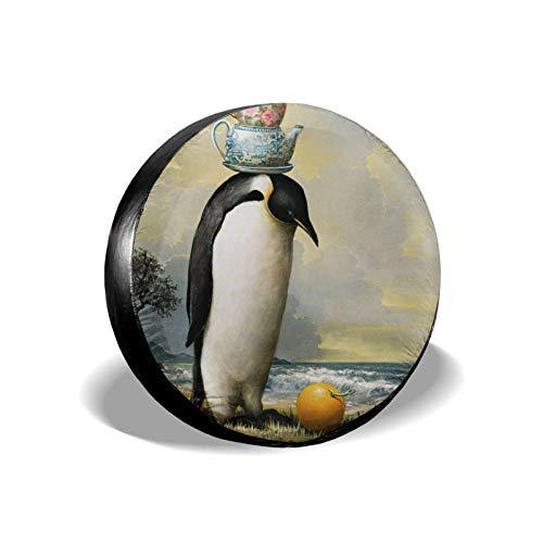 Cubierta de neumático de repuesto de pingüinos realistas, cubierta de neumático de rueda universal portátil resistente al polvo a prueba de agua, resistente a los rayos UV, apta para muchos vehículos
