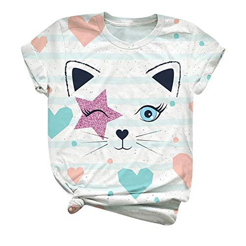 YANFANG Blusas Mujer Tallas Grandes Verano, Blusa de Camiseta con Estampado de Animales de Manga Corta con Estampado de Animales de Talla Grande para Mujer, L,Beige