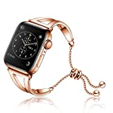 PZZZHF Mujeres Banda De I Seguir 38 Mm 42 Mm 40 Mm 44 Mm Pulsera De Acero Inoxidable Correa Metal De La Manera Correa Serie IWatch 5 4 3 2 1 (Band Color : Rose Gold, Band Width : 42mm)