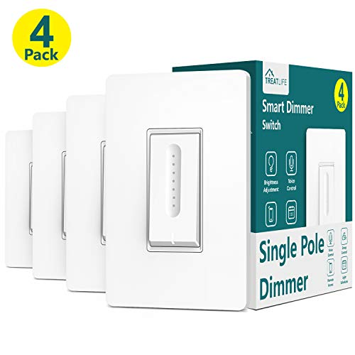 Smart Dimmer Switch, Neutral Wire Required, Treatlife WiFi Light Switch for Dimmable LED, Halogen and Incandescent Bulbs, Compatible with Alexa, Google Assistant, Remote Control, Single-Pole (4 Pack)