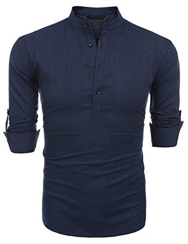 Burlady Herren Langarmshirt Leinenshirt aus Baumwollemischung Linie Henley-Kragen Sommer Shirt für Männer (M, Marine Blau)