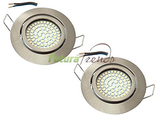 LED Einbaustrahler 230V HIGH SMD Einbauleuchte flache Einbauspots 3,5W set Schwenkbar | 3.000K | Edelstahlgebürstet, (Matt-Chrom) | Lochkreis: 72mm (2er Set)
