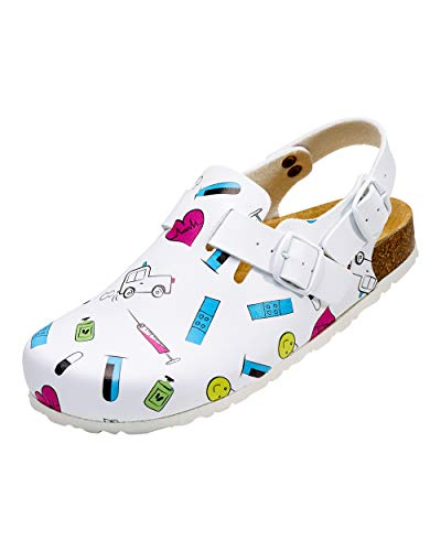 CLINIC DRESS Clog - Clogs Damen bunt weiß Motiv. Schuhe für Krankenschwestern, Ärzte oder Pflegekräfte bunt, Krankenhaus 40