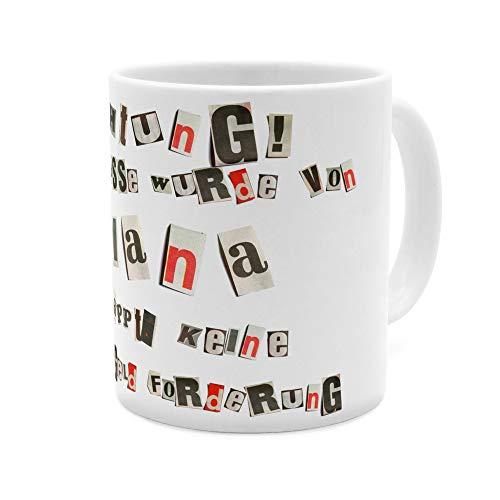 printplanet Tasse mit Namen Diana - Motiv Ausgeschnittene Buchstaben - Namenstasse, Kaffeebecher, Mug, Becher, Kaffeetasse - Farbe Weiß