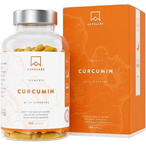 Gélules biodisponibles du complexe de curcumine curcuma au poivre noir [ 700 mg ] par gélule - 95% d'extrait de curcuma et de pipérine - un approvisionnement de 180 gélules - Végétalien et sans OGM