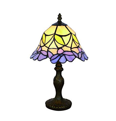 Tokira Tiffany Stijl Bureaulamp 8 Inch, Retro Gebrandschilderd Nachtlampje, Paars Nachtkastje Slaapkamer Bureaulamp in Woonkamer Eenvoudige Stijl Studie Verlichting