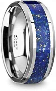 OSIAS Men's Polished Tungsten Wedding Band with Blue Lapis Inlay & Beveled Edges - 8mm