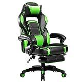 Merax Racing Style Gaming - Silla ergonómica con reposabrazos Ajustable, Color Verde