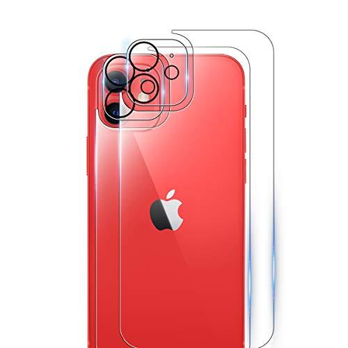 ELYCO [2+2 Piezas] Protector de Cámara + Trasero Protector de Pantalla para iPhone 12 6.1'', 9H Dureza Anti-Huellas/Anti-caída/Anti-rasguños Trasera Cristal Templado para iPhone 12 6.1''