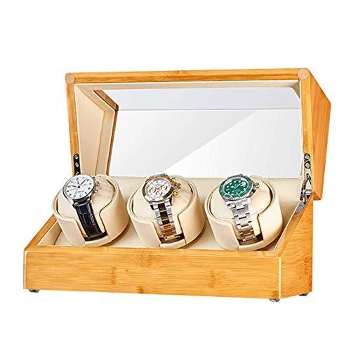 LLSS Caja enrolladora de Reloj de Madera de bambú para 3 Relojes automáticos, Almohada Suave y Flexible para Relojes, 5 Modos de rotación, Motores Qiuet, Accesorios de Fuente