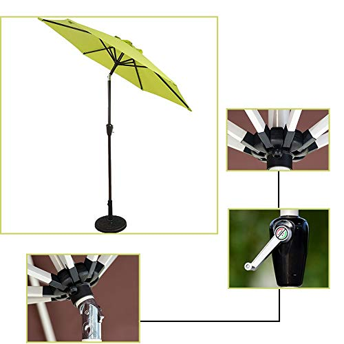ZJM-umbrella Parasols Parapluie de Patio avec Manivelle, Parasol Vert Robuste pour la Piscine Oasis D'arrière-Cour, Installation et Démontage Faciles