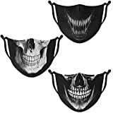 Ranmov Skull Face Mask for Men Women Cloth Face Mask Adjustable Washable Reusable Face Mask Cover Outdoor Sports Workout for Dust Wind 3 Pack (Skull 01)