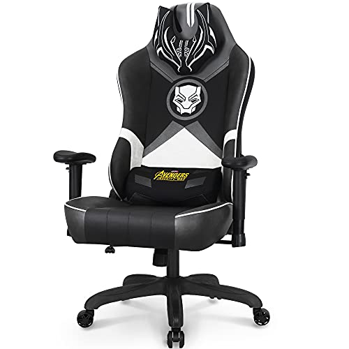 Marvel Avengers Gaming Chair Desk Office Computer Racing Chairs - Adults Gamer Ergonomic Game Reclining High Back Support Racer Leather (Black Panther, White (M))