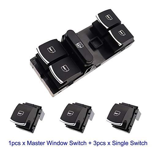 Botón de Interruptor de la Ventana del Maestro de energía eléctrica for VW MAGOTAN SAGITAR Golf MK5 MK6 GTI COBBIT Passat B6 CC OEM 5ND 959 857 5ND959857 (Color : Set)