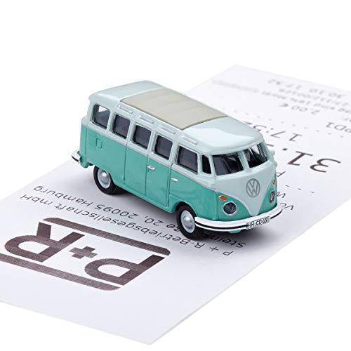 corpus delicti :: Magnetischer Parkscheinhalter für das Armaturenbrett - Modellauto mit Magnet und Selbstklebender Haftscheibe - Kultauto wie VW Bus T1 Samba Bulli türkis (20.10-33)