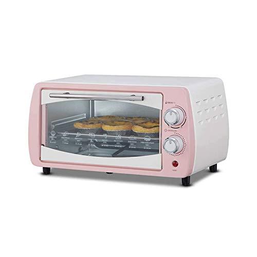 Sdesign Mini Horno - 10L, 800W, Temperatura: 100-230 ° C, asador, circulando la función del Aire, Temporizador, Superior e Inferior de Calor, iluminación Interior, de Acero Inoxidable (Color : Pink)