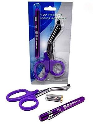 "Purple Reusable LED Penlight with Batteries + Paramedic Utility Trauma EMT Bandage Shears Scissors 7.5"""