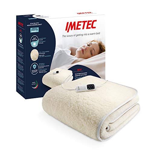 Imetec Adapto wärmeunterbett, 150 x 80 cm, schnelle Erwärmung, konstante und individuelle Temperatur, 100 Prozent Wolle und Merinowolle, rutschfester Stoff, Steuerung mit 6 Temperaturen