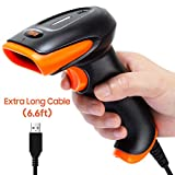 Tera Barcode Scanner Handheld [Upgraded Version] 6.6ft Extra Long USB Wired Bar Code Scanner Reader Laser 1D Barcode Reader Plug and Play