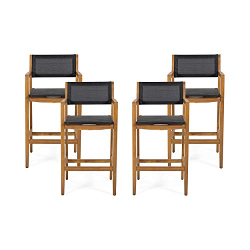 Christopher Knight Home 312832 Catherine Acacia Wood Barstools with Outdoor Mesh (Set of 4), Teak and Black