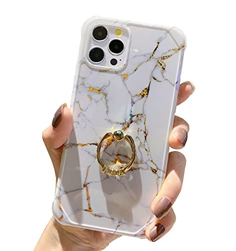 Anynve - Funda de mármol compatible con iPhone 12 Pro Max para mujeres y niñas con anillo giratorio de 360 grados, parte trasera dura a prueba de golpes + suave TPU Bumper Slim Case 6.7 'Blanco