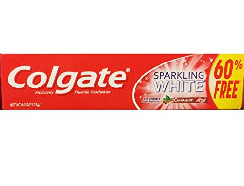 Colgate Anticavity Fluoride Toothpaste Sparkling White Cinnamint with Cinnamon & Natural Mint Flavor Gel - Gluten Free