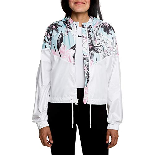 Nike Women's Windrunner Windbreaker Jacket, White/Floral (White, Medium)