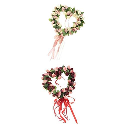 Harilla 2 Piezas en Forma de Corazón de Seda Artificial Rosa Flor Guirnalda Ventana Decoración Colgante