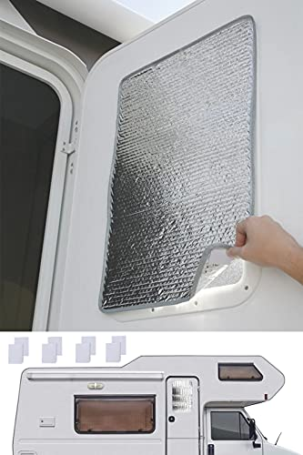 KAEGREEL RV Door Window Shade, 16 x 24 Inches Camper Skylight Reflective Shield for Blocking Out The Sun and The Heat UV Rays , SunShield RV Reflective Window Shade for Camper and Travel Trailer
