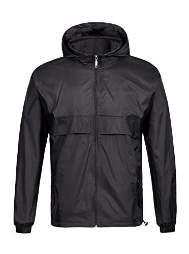 SWISSWELL Men's Lightweight Rain Jacket Waterproof Hooded Rainwear Black,XL