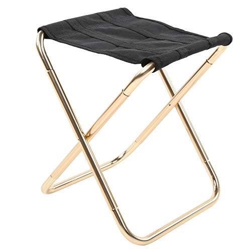 DAUERHAFT Taburete de Camping de tamaño pequeño Silla de Pesca Ligera, para Senderismo y Acampada con Bolsa de Almacenamiento Impermeable(Golden)